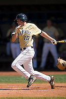 Shane Kroker #10 of the Wake Forest Demon Deacons follows through on his swing versus the Duke Blue Devils at Jack Coombs Field March 29, 2009 in Durham, North Carolina. (Photo by Brian Westerholt / Four Seam Images)