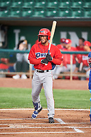Caleb Scires (39) of the Orem Owlz bats against the Ogden Raptors at Lindquist Field on June 20, 2019 in Ogden, Utah. The Owlz defeated the Raptors 11-8. (Stephen Smith/Four Seam Images)