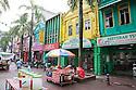 Market stalls in pedestrian friendly street in downtown Kuala Lumpur. Kuala Lumpur, Selangor, Malaysia