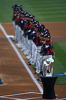 World Baseball Classic trophy at home plate before championship game between Japan and Korea at Dodger Stadium on March 23, 2009 in Los Angeles, California. (Larry Goren/Four Seam Images)
