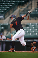 GCL Orioles catcher Ronald Soto (30) at bat during the first game of a doubleheader against the GCL Rays on August 1, 2015 at the Ed Smith Stadium in Sarasota, Florida.  GCL Orioles defeated the GCL Rays 2-0.  (Mike Janes/Four Seam Images)
