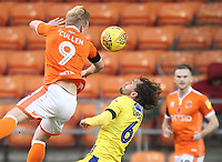 Blackpool's Mark Cullen jumps with  Bristol Rovers' Edward Upson<br /> <br /> Photographer Mick Walker/CameraSport<br /> <br /> The EFL Sky Bet League One - Blackpool v Bristol Rovers - Saturday 3rd November 2018 - Bloomfield Road - Blackpool<br /> <br /> World Copyright © 2018 CameraSport. All rights reserved. 43 Linden Ave. Countesthorpe. Leicester. England. LE8 5PG - Tel: +44 (0) 116 277 4147 - admin@camerasport.com - www.camerasport.com