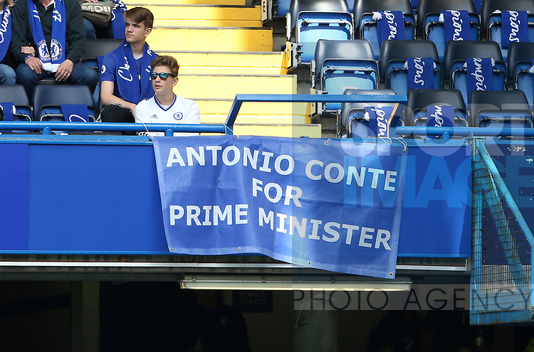 A Chelsea's banner calling for Antonio Conte for Prime Minister during the Premier League match at Stamford Bridge Stadium, London. Picture date: May 18th, 2017. Pic credit should read: David Klein/Sportimage