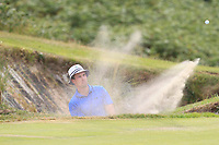 Alex Gleeson (Castle) plays out of a bunker on the 14th during the 1/4 Finals of the AIG Irish Close Championship at the European Club, Brittas Bay, Wicklow, Ireland on Monday 6th August 2018.<br /> Picture: Thos Caffrey / Golffile<br /> <br /> All photo usage must carry mandatory copyright credit (&copy; Golffile | Thos Caffrey)