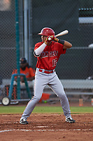 AZL Angels Jose Reyes (12) at bat during a game against the AZL Giants Orange at Giants Baseball Complex on June 17, 2019 in Scottsdale, Arizona. AZL Giants Orange defeated AZL Angels 8-4. (Zachary Lucy/Four Seam Images)