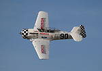 Greg McNeely from Port Orange FL races his T-6 during the National Championship Air Races in Reno, Nevada on Sunday, September 17, 2017.