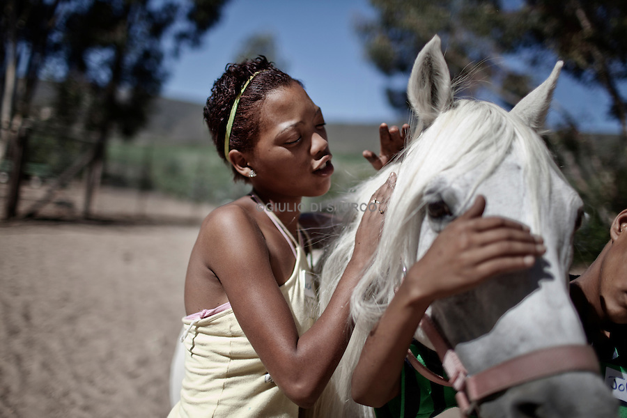 CAPE TOWN, SOUTH AFRICA JANUARY 2011:<br />Rolencia Booysen,14, here at the second week of a 6 week equine therapy programme. Jan 2011 @ GDS