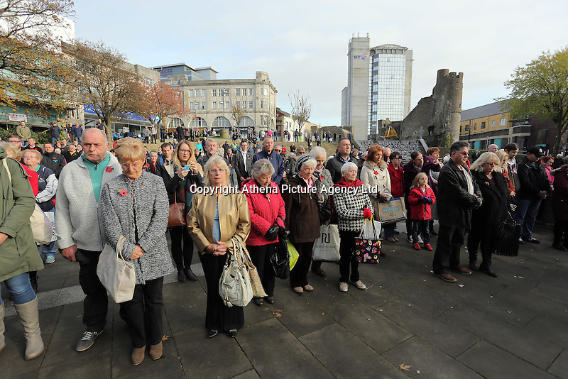 Pictured: Hundreds of people observe the minute's silence Friday 11 November 2016<br />