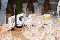 Wine glasses. Domaine Marc Kreydenweiss, Andlau, Alsace, France
