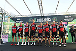 BMC Racing Team at sign on before the start of the 111th edition of Il Lombardia 2017 &quot; The Race of the Falling Leaves&quot; the final monument of the season, running 247km from Bergamo to Como, Italy. 7th October 2017.<br /> Picture: LaPresse/Fabio Ferrari | Cyclefile<br /> <br /> <br /> All photos usage must carry mandatory copyright credit (&copy; Cyclefile | LaPresse/Fabio Ferrari)