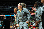 03 APR 2012:  The Baylor University bench cheers on their teammates against the University of Notre Dame during the Division I Women's Basketball Championship held at the Pepsi Center in Denver, CO.  Jamie Schwaberow/NCAA Photos