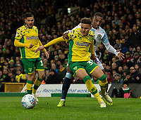 Blackburn Rovers' Amari'i Bell (centre) battles with Norwich City's Emi Buendia (left) & Norwich City's Max Aarons (right) <br /> <br /> <br /> Photographer David Horton/CameraSport<br /> <br /> The EFL Sky Bet Championship - Norwich City v Blackburn Rovers - Saturday 27th April 2019 - Carrow Road - Norwich<br /> <br /> World Copyright © 2019 CameraSport. All rights reserved. 43 Linden Ave. Countesthorpe. Leicester. England. LE8 5PG - Tel: +44 (0) 116 277 4147 - admin@camerasport.com - www.camerasport.com