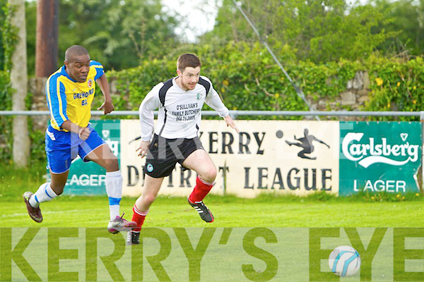 In action Classic's Ashton Mugabe and Castlegregory's Gearoid Fitzgerald in the Premier 'B' League match Classic v Castlegregory at Mounthawk Park on Sunday