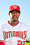 28 February 2010: Washington Nationals center fielder Willie Harris poses for his Spring Training photo at Space Coast Stadium in Viera, Florida. Mandatory Credit: Ed Wolfstein Photo