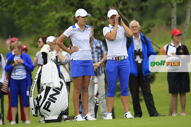 Meghan MacLaren and Maria Dunne on the 17th during the Friday morning foursomes at the 2016 Curtis cup from Dun Laoghaire Golf Club, Ballyman Rd, Enniskerry, Co. Wicklow, Ireland. 10/06/2016.<br /> Picture Fran Caffrey / Golffile.ie<br /> <br /> All photo usage must carry mandatory copyright credit (&copy; Golffile | Fran Caffrey)