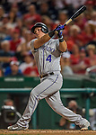 29 July 2017: Colorado Rockies infielder Pat Valaika pinch hits against the Washington Nationals at Nationals Park in Washington, DC. The Rockies defeated the Nationals 4-2 in the first game of their 3-game weekend series. Mandatory Credit: Ed Wolfstein Photo *** RAW (NEF) Image File Available ***