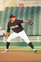 Kannapolis Intimidators starting pitcher Jake Sanchez (33) in action against the Hickory Crawdads at CMC-Northeast Stadium on May 19, 2014 in Kannapolis, North Carolina.  The Crawdads defeated the Intimidators 10-6.  (Brian Westerholt/Four Seam Images)