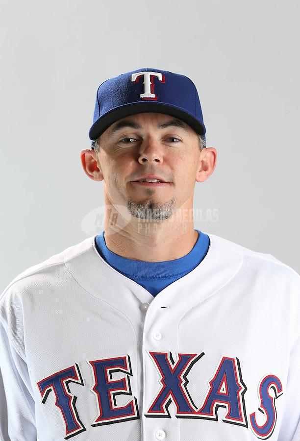 Feb. 20, 2013; Surprise, AZ, USA: Texas Rangers catcher Eli Whiteside poses for a portrait during photo day at Surprise Stadium. Mandatory Credit: Mark J. Rebilas-