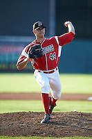 Batavia Muckdogs pitcher Justin Jacome (44) delivers a pitch during a game against the Williamsport Crosscutters on July 15, 2015 at Dwyer Stadium in Batavia, New York.  Williamsport defeated Batavia 6-5.  (Mike Janes/Four Seam Images)