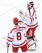 Ryan Cloonan (BU - 8), Sean Maguire (BU - 31) - The Boston University Terriers defeated the visiting University of Connecticut Huskies 4-2 (EN) on Saturday, October 24, 2015, at Agganis Arena in Boston, Massachusetts.