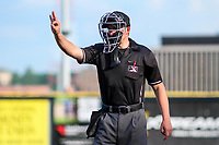 Home plate umpire Steven Jaschinski signals to the dugout during a Midwest League game between the Quad Cities River Bandits and the Peoria Chiefs on May 27, 2018 at Modern Woodmen Park in Davenport, Iowa. Quad Cities defeated Peoria 8-3. (Brad Krause/Four Seam Images)