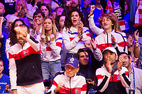 Le joueur de tennis français Lucas Pouille opposé au joueur Croate Marin Cilic lors de la  Finale de la Coupe Davis France vs Croatie, au Stade Pierre Mauroy à Villeneuve d'Ascq .<br /> France, Villeneuve d'Ascq , 25 novembre 2018.<br /> French tennis player Lucas Pouille vs Croatian tennis players Marin Cilic during the final of the Davis Cup, at the Pierre Mauroy stadium in Villeneuve d'Ascq .<br /> France, Villeneuve d'Ascq , 25 November 2018<br /> Pic :  wifes of the tennis players and son of Yannick Noah, Joalukas Noah