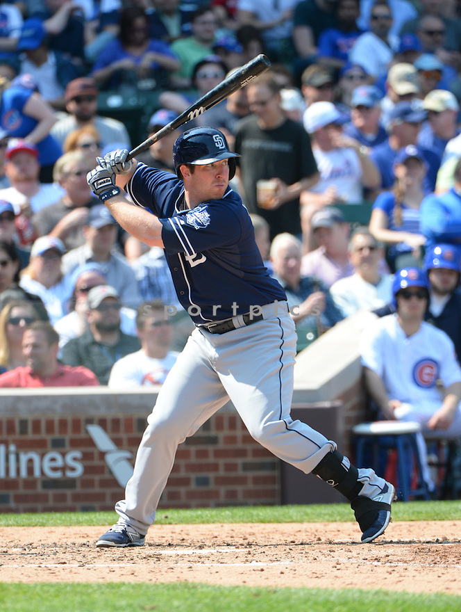 San Diego Padres Jedd Gyorko (9) during a game against the Chicago Cubs on April 17, 2015 at Wrigley Field in Chicago, IL. The Padres beat the Cubs 5-4.