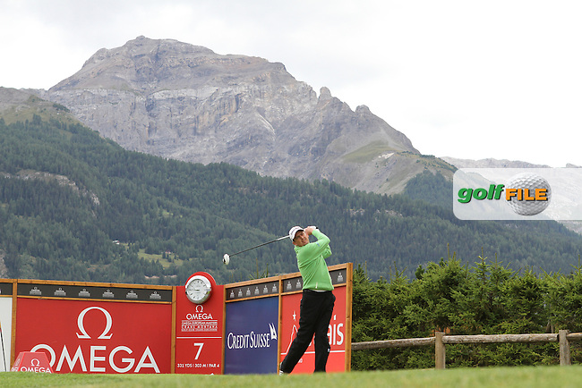 Peter Lawrie (IRL) on the 7th on Day 1 of the Omega European Masters 2012, Golf Club Crans-Sur-Sierre, Crans Montana, Switzerland, 30/8/12...(Photo Jenny Matthews/www.golffile.ie)