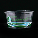 Recyclable clear plastic Greenware container for takeout food, empty