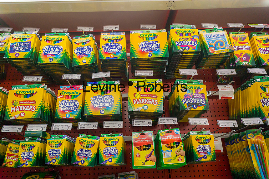 Back to school Crayola crayons  in a Staples store in New York on Sunday, August 21, 2016. Back-to-school is the second largest shopping season. (© Richard B. Levine)