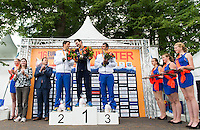 from left FURLAN Matteo ITA silver medal, REYMOND Axel FRA gold medal, STOCHINO Edoardo ITA  bronze medal <br /> Hoorn, Netherlands <br /> LEN 2016 European Open Water Swimming Championships <br /> Open Water Swimming<br /> Men's 25km <br /> Day 04 14-07-2016<br /> Photo Giorgio Perottino/Deepbluemedia/Insidefoto