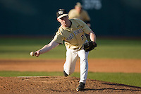 Relief pitcher Ryan McGrath #20 of the Wake Forest Demon Deacons in action versus the Duke Blue Devils at Jack Coombs Field March 29, 2009 in Durham, North Carolina. (Photo by Brian Westerholt / Four Seam Images)