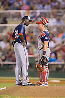 Hagerstown Suns relief pitcher Taylor Hearn (28) listens to catcher Jakson Reetz (21) during the game against the Kannapolis Intimidators at Kannapolis Intimidators Stadium on July 4, 2016 in Kannapolis, North Carolina.  The Intimidators defeated the Suns 8-2.  (Brian Westerholt/Four Seam Images)