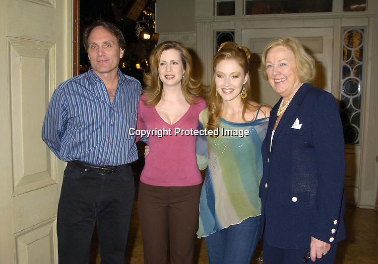 Chris Goutman, Martha Byrne, Jennifer Ferrin and Mary Alice ..Dwyer Dobbin..at the As The World Turns 49th Anniversary Party on ..March 30, 2005 at their studio in Brooklyn, New York. ..Photo by Robin Platzer, Twin Images