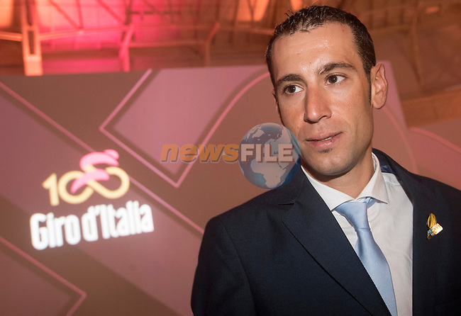 Defending Champion Vincenzo Nibali (ITA) at the 100th edition Giro d`Italia 2017 route presentation held at the Ice Palace in Milan, 25th October 2016.<br /> Picture: ANSA/Claudio Peri | Newsfile<br /> <br /> <br /> All photos usage must carry mandatory copyright credit (&copy; Newsfile | ANSA/Claudio Peri)