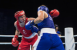 Wales Rosie Eccles in action against Kaye Scott in the Women's 69kg Semifinal 1<br /> <br /> *This image must be credited to Ian Cook Sportingwales and can only be used in conjunction with this event only*<br /> <br /> 21st Commonwealth Games - Boxing -  Day 7 - 11\04\2018 - Oxenford Studios - Gold Coast City - Australia