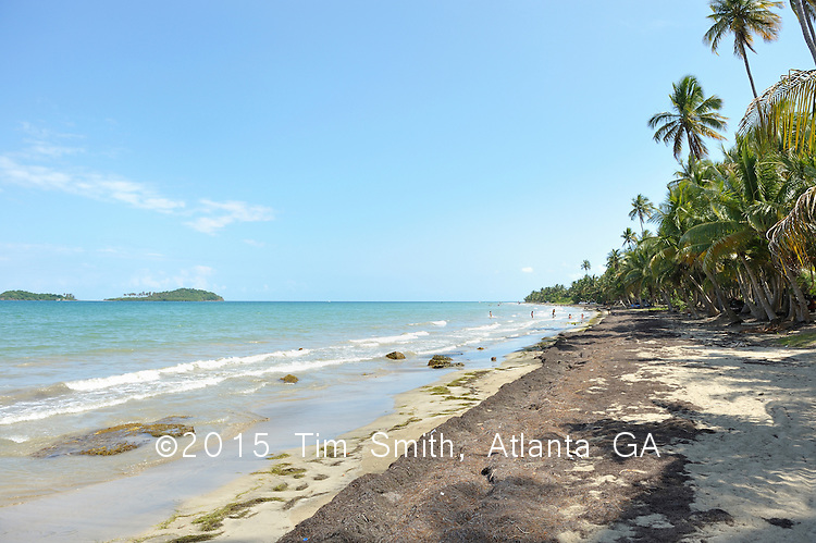 May 17, 2008  Guayama, Puerto Rico..Families play on this beach lined with coconut palms and beautiful white sand, along the side of the road, just south of Naguabo.
