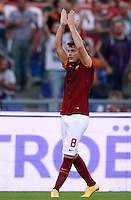 Calcio, Serie A: Roma vs ChievoVerona. Roma, stadio Olimpico, 18 ottobre 2014.<br /> Roma's Adem Ljajic celebrates after scoring during the Italian Serie A football match between Roma and ChievoVerona at Rome's Olympic stadium, 18 October 2014.<br /> UPDATE IMAGES PRESS/Isabella Bonotto