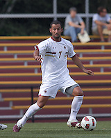 Boston College forward/midfielder Amit Aburmad (7) dribbles. Boston College defeated George Mason University, 3-2, at Newton Soccer Field, August 26, 2011.