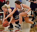 Civic Memorial guard Tori Standefer (left) and Highland forward Bella LaPorta dive for a loose ball. Highland played Civic Memorial in the Class 3A Effingham sectional championship game at Effingham High School in Effingham, Illinois on Thursday February 27, 2020. <br /> Tim Vizer/Special to STLhighschoolsports.com