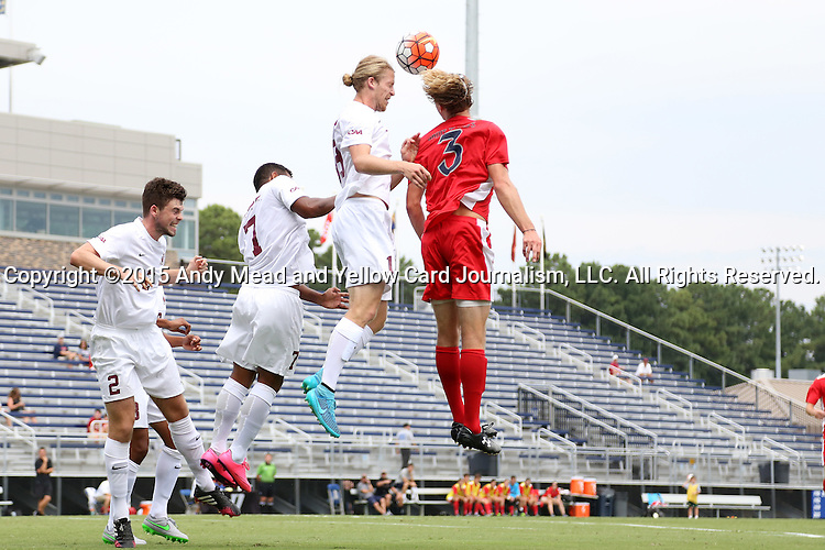 30 August 2015: Elon's Nathan Diehl (19) heads the ball away from Saint Mary's Max Mirner (3). The Elon University Phoenix played the Saint Mary's College Gaels at Koskinen Stadium in Durham, NC in a 2015 NCAA Division I Men's Soccer match. Elon won the game 1-0.