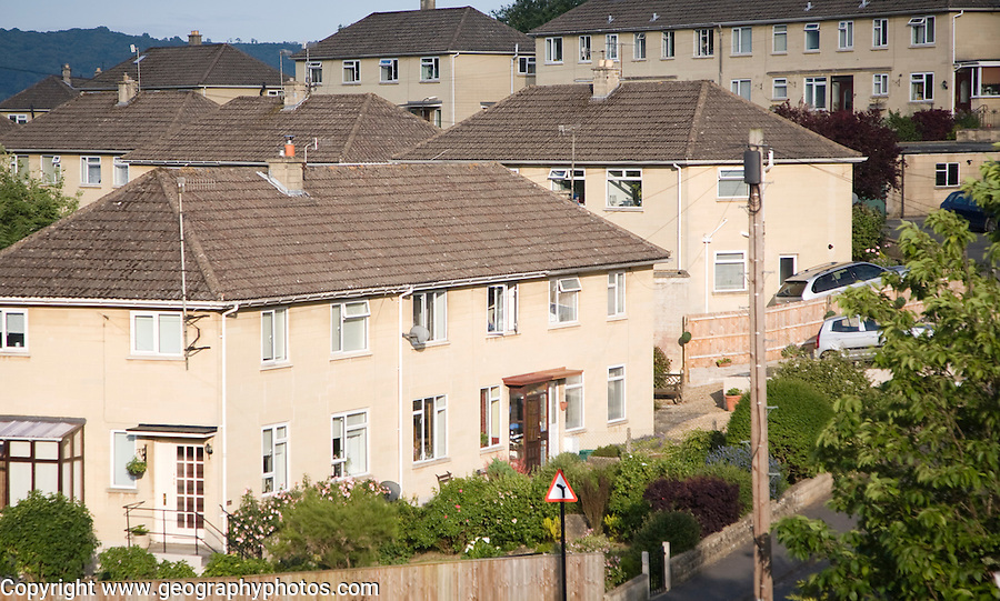 Suburban terraced housing dating from 1950s, Bath, Somerset, England