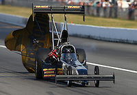 Aug. 2, 2014; Kent, WA, USA; NHRA top fuel dragster driver Troy Buff during qualifying for the Northwest Nationals at Pacific Raceways. Mandatory Credit: Mark J. Rebilas-