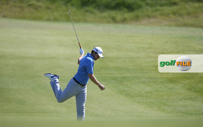 Peter Uihlein (USA) gives out a kick in discontent of his second shot to the 8th during Round Two of the 2015 Nordea Masters at the PGA Sweden National, Bara, Malmo, Sweden. 05/06/2015. Picture David Lloyd | www.golffile.ie