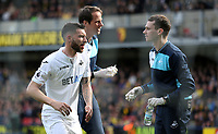 Borja Baston of Swansea City returns to his feet after a collision  during the Premier League match between Watford and Swansea City at Vicarage Road Stadium, Watford, England, UK. Saturday 15 April 2017