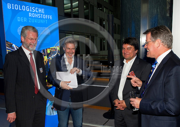 Brussels-Belgium - January 24,  2012 -- 'Our Blue Future' - exhibition at the European Parliament by KDM (Konsortium Deutsche Meeresforschung / German Maritime Research Consortium); here, opening with: Prof. Peter HERZIG (le), KDM Deputy Chair; Frank SCHAETZING (2.ri)(Schätzing, Schatzing), author, keynote speaker;.Dr. Gerd HOFFMANN-WIECK (2.ri), GEOMAR; MEP Reimer BOEGE (ri)(Böge, Boge) -- Photo: Horst Wagner / eup-images