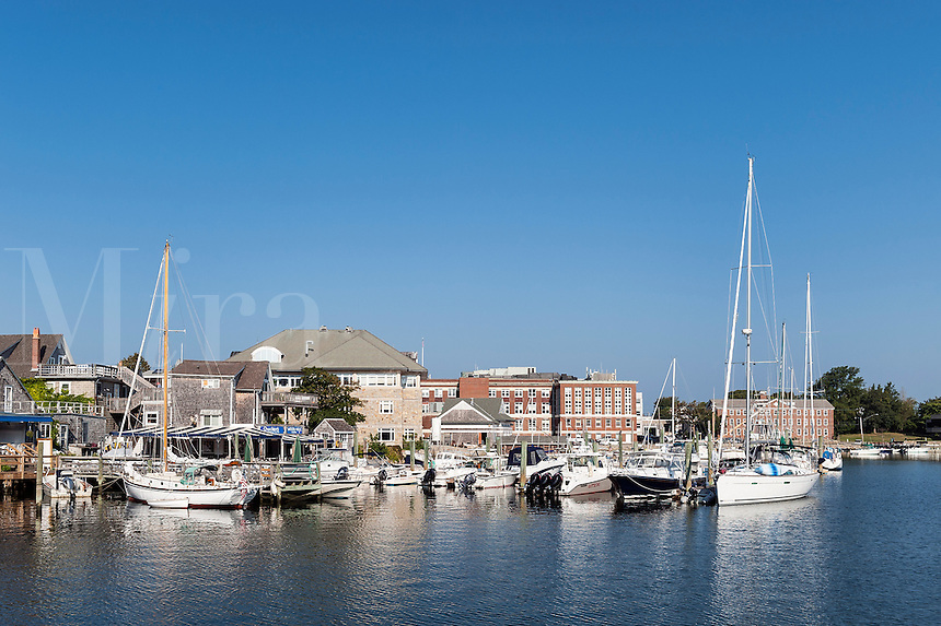 Harbor boats and town, Woods Hole, Cape Cod, Massachusetts, USA