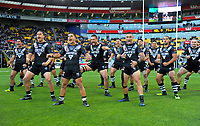 The Kiwis perform a haka before the 2017 Rugby League World Cup quarterfinal match between New Zealand Kiwis and Fiji at Wellington Regional Stadium in Wellington, New Zealand on Saturday, 18 November 2017. Photo: Dave Lintott / lintottphoto.co.nz