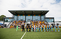 The teams shake hands ahead of the pre season friendly match between Slough Town and Wycombe Wanderers at Arbour Park Stadium, Slough, England on 8 July 2017. Photo by Andy Rowland.