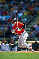 Boston Red Sox center fielder Ryan LaMarre (65) at bat during a Spring Training game against the Pittsburgh Pirates on March 9, 2016 at McKechnie Field in Bradenton, Florida.  Boston defeated Pittsburgh 6-2.  (Mike Janes/Four Seam Images)